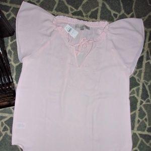 new loft womans pink dress shirt top blouse small